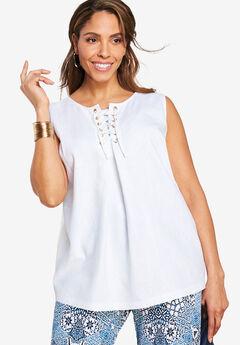 Lace-Up Linen Shirt,