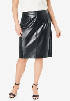 Leather and Ponte Knit Skirt, BLACK