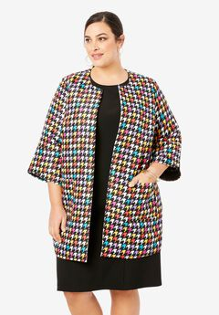 Collarless Bell Sleeve Jacket,
