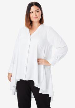 Hi-Low Georgette Tunic, WHITE