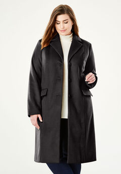 Wool-Blend Coat, BLACK