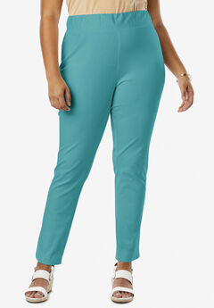 Tummy Control Twill Ankle Pant, JADE