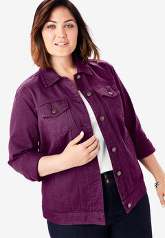 Classic Cotton Denim Jacket, DARK BERRY