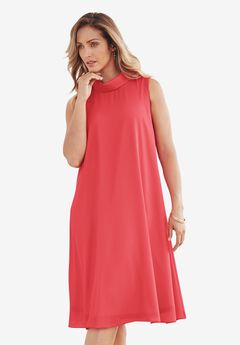 Georgette Mock Neck Dress,