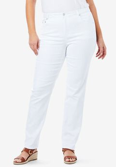 True Fit Straight Leg Jeans, WHITE DENIM