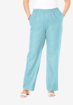 Lightweight Linen-Blend Wide-Leg Pants, LIGHT AQUA