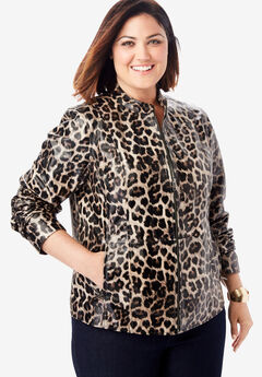 Zip Front Leather Jacket, LEOPARD