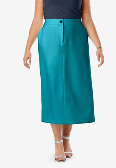 Tummy Control Bi-Stretch Midi Skirt, DEEP TURQUOISE
