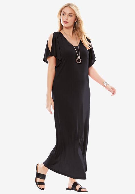 Travel Knit Cold Shoulder Maxi Dress