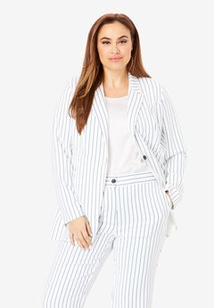 Bi-Stretch Blazer, WHITE PINSTRIPE