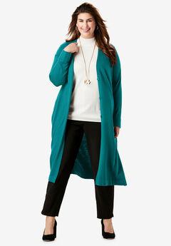 Fine Gauge Duster Sweater, GEMSTONE GREEN