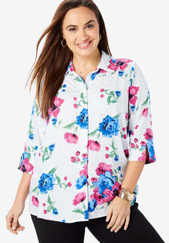 Soft Button Front Shirt, ROYAL ROSE SCROLL FLORAL
