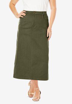 Classic Cotton Denim Long Skirt, DARK OLIVE GREEN
