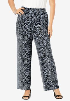 Everyday Stretch Knit Palazzo Pant, GREY BOLD LEOPARD