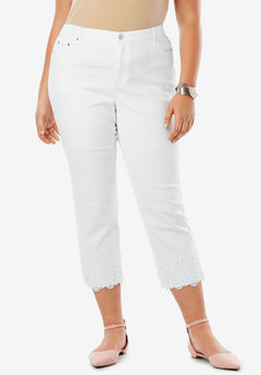 Lace Trim Crop Jean, WHITE