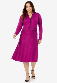 A-Line Sweater Dress, RASPBERRY DARK BERRY