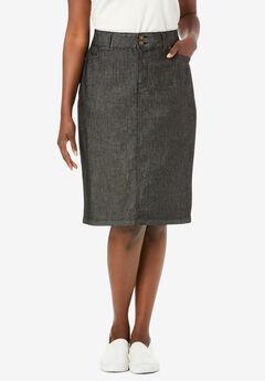 Tummy Control Denim Skirt, BLACK