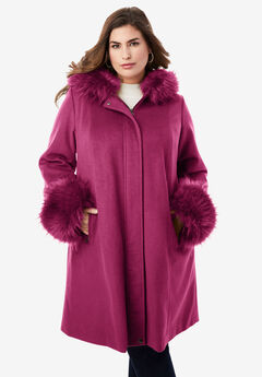 Hooded Faux Fur Trim Coat, BERRY TWIST