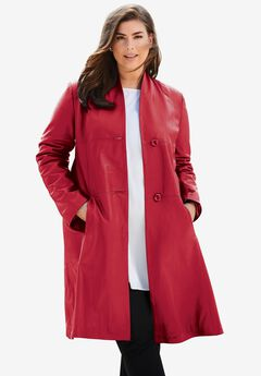 Leather Swing Coat, CLASSIC RED