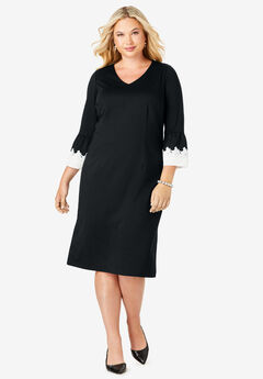 Bell Sleeve Dress, BLACK WITH LACE