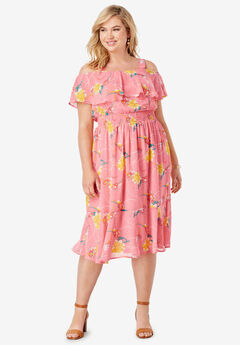 Flounce Hem Midi Dress, CORAL BLUSH IRIS FLOWER