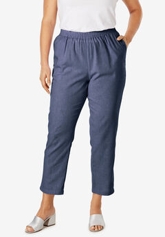 Linen Ankle Pant, NAVY