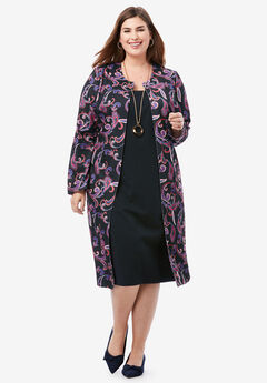 Ponte Jacket Dress, BLACK PAISLEY SCROLL
