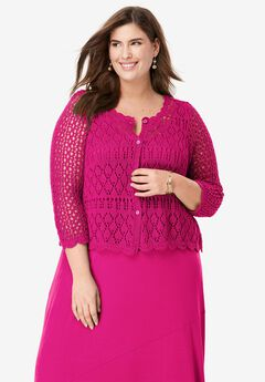 Crochet Sweater, VIVID PINK