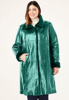 Fur-Trim Leather Swing Coat, DARK EMERALD