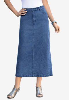 Classic Cotton Denim Long Skirt, MEDIUM STONEWASH