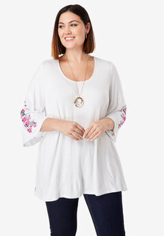 Embroidered Sleeve Tunic, ROYAL ROSE CORSAGE