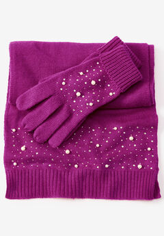 Cotton Cashmere Scarf and Glove Set, BERRY