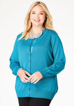 Fine Gauge Cardigan, SEA BLUE