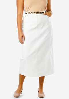 True Fit Denim Skirt, WHITE DENIM