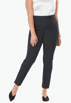 Tummy Control Twill Ankle Pant, BLACK