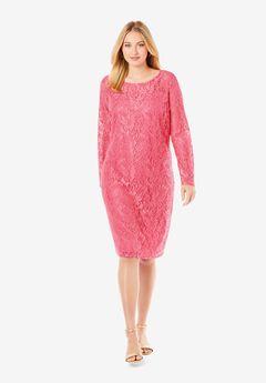 Lace Shift Dress, DAZZLING PINK