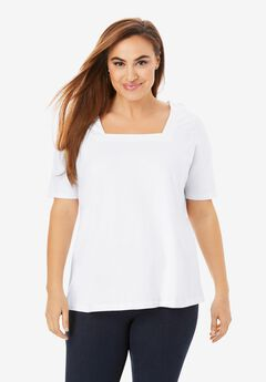 Square Neck Tee, WHITE