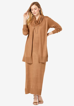 Two-Piece Sweater Dress, BROWN MAPLE