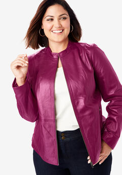 Zip Front Leather Jacket, BERRY TWIST
