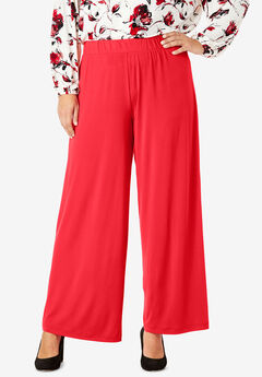 Travel Knit Wide Leg Pants, HOT RED