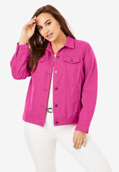 Classic Cotton Denim Jacket, TROPICAL RASPBERRY