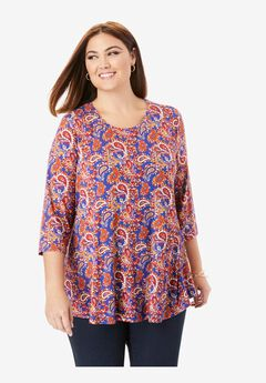 Swing Tunic, BLUE GRAPHIC PAISLEY