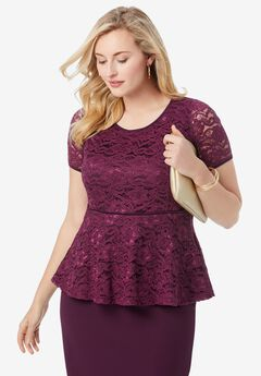 Peplum Lace Top, DARK BERRY