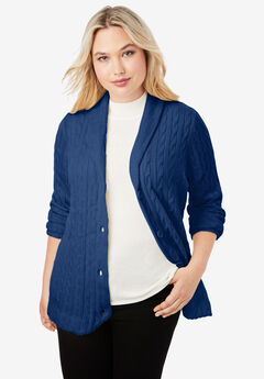 Cable Blazer Sweater, EVENING BLUE