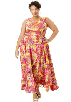 Flyaway Maxi Dress, YELLOW WATERCOLOR FLORAL