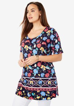 Mega Knit Tunic, NAVY FOLK FLORAL BORDER