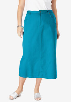 Classic Cotton Denim Long Skirt, ANTIQUE TURQ