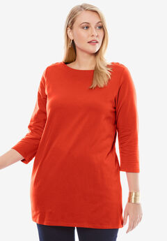 Boatneck Tunic, FLAME RED