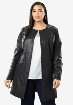 Three-Quarter Leather Jacket, BLACK