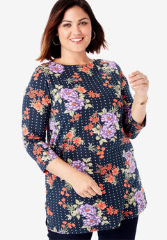 Boatneck Tunic, NAVY BOUQUET DOT